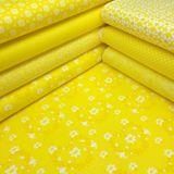 Žltá s bielymi kruhovými kvietkami česká bavlna