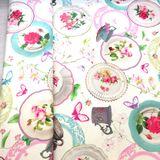 Šálky a tanieriky dekoračná látka