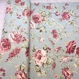 Tmavá Tyrkysová s ružami francúzska bavlna