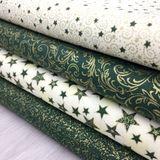 Zeleno zlaté mandaly slzy zlatotlač vianočná látka