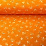 Oranžová s bielymi púpavami česká bavlna