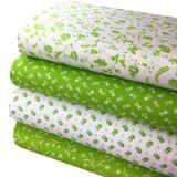 Zelená s tradičnými bielymi kvietkami česká bavlna