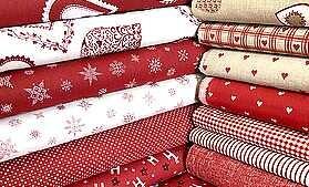 Tmavo červená vianočná kolekcia české látky