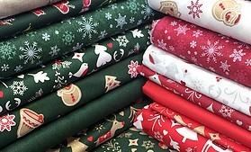 Zeleno červené vianočné látky