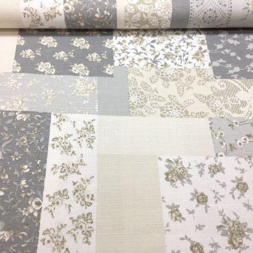 Biela s béžovo šedým patchworkom dekoračná látka