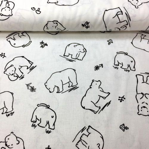 Biela s medveďmi česká bavlna