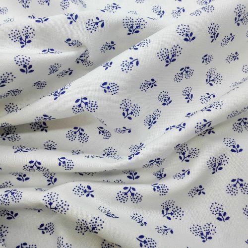 Biela s modrými púpavami modrotlač česká bavlna