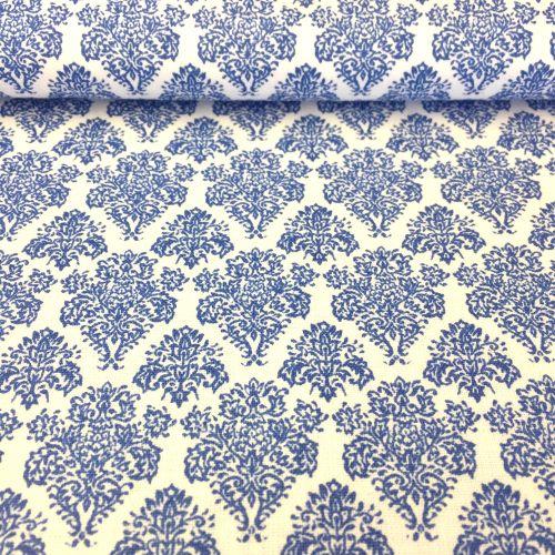 Biela so stredne modrým kráľovským ornamentom česká bavlna