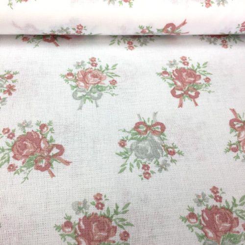 Biela s pastelovými ružičkami česká bavlna