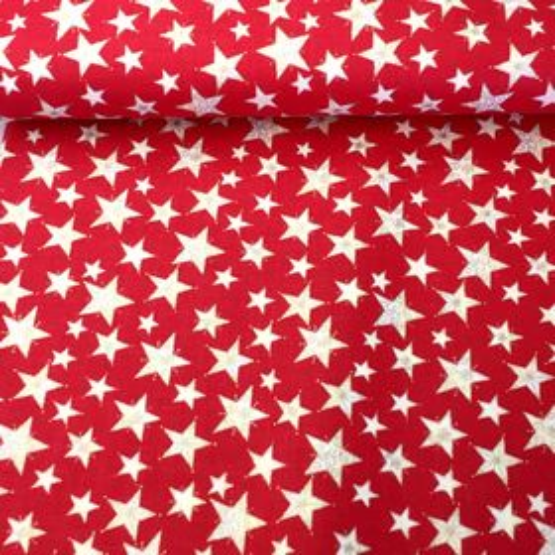 Červeno zlaté hviezdy zlatotlač vianočná látka