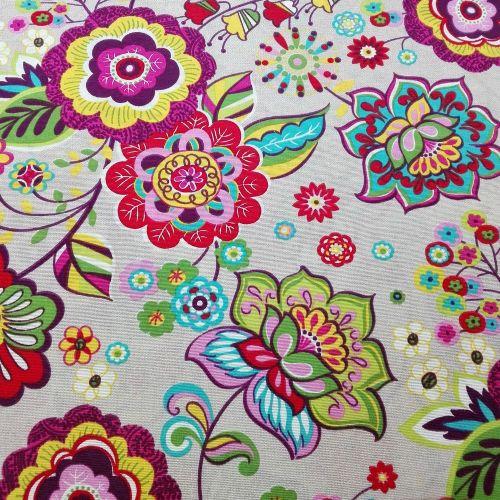 Folk Kvety šťastia dekoračná látka