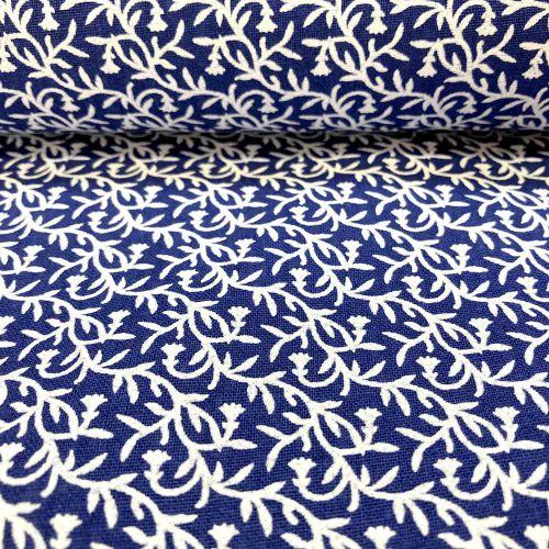 Modrá s bielymi ornamentmi modrotlač česká bavlna
