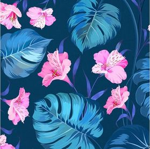 Modrá s kvetmi petúnie dizajnová prémiová bavlna