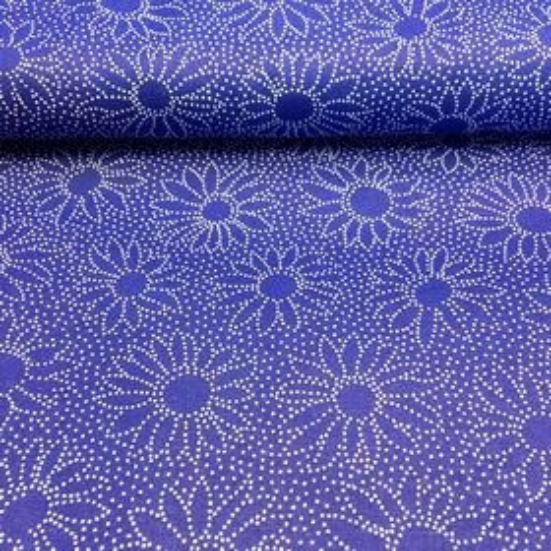 Modrotlač s bodkovaným kvetinkami bavlnená látka