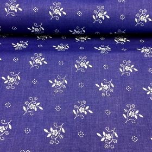 Modrotlač s kvetinkami a ornamentom bavlnená látka