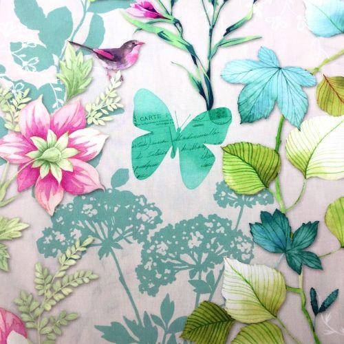 Motýlia záhrada na béžovej francúzska bavlna