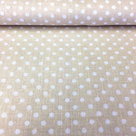 Béžová s bodkami 2mm bavlnená látka