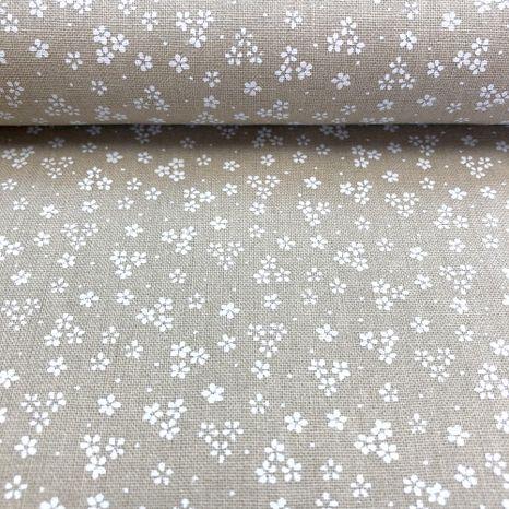 Béžová s drobnými bielymi kvietkami česká bavlna