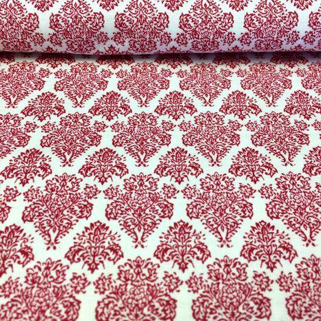 Biela s červeným kráľovským ornamentom česká bavlna
