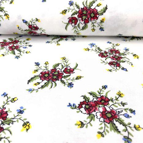 Biela s ľudovými kvetmi česká bavlna