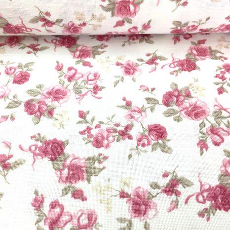 Biela s malými ružovými ružičkami dekoračná látka