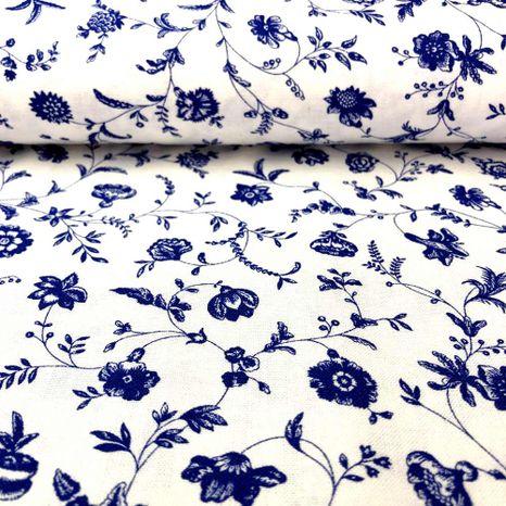Biela s modrými lúčnymi kvetmi modrotlač česká bavlna