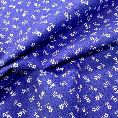 Modrá s tradičnými bielymi kvietkami modrotlač česká bavlna