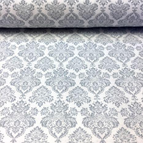 Biela so šedým kráľovským ornamentom česká bavlna