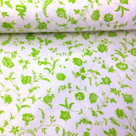Biela so zelenými lúčnymi kvetmi česká bavlna