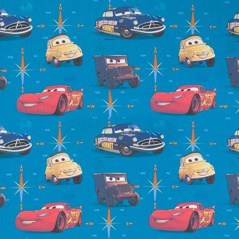 Cars Autá v modrej Disney detská bavlnená látka