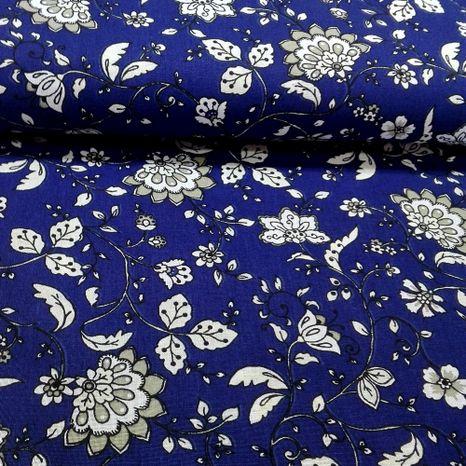 Modrá s folk kvetinami francúzska bavlna