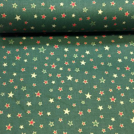 Zeleno červené hviezdičky zlatotlač vianočná látka