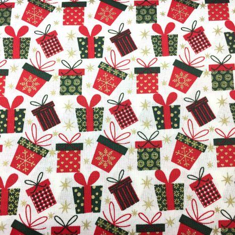 Červeno zelené darčeky zlatotlač vianočná látka