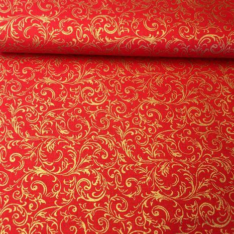Červeno zlatý ornament zlatotlač vianočná látka