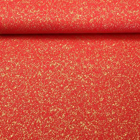 Červeno zlatý prach zlatotlač vianočná látka