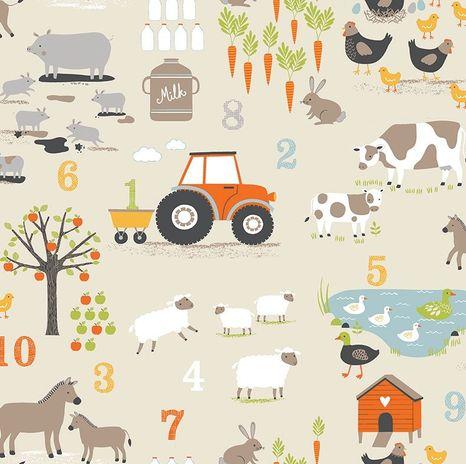 Farma na béžovej francúzska látka