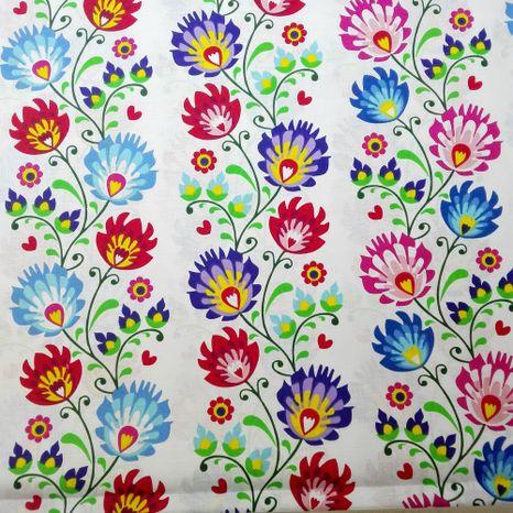 Folk kvety v pásoch na bielej bavlnená látka 160cm