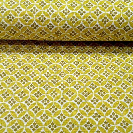 Horčicová s drobným vzorom česká bavlna