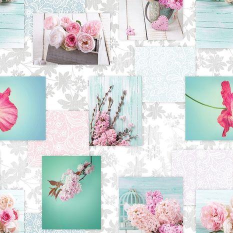 Jarné ruže v tyrkysovej francúzska dekoračná látka