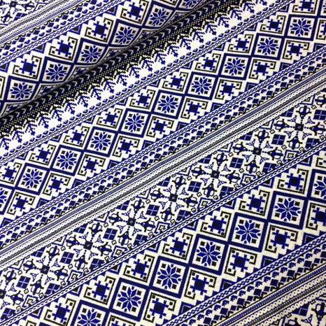 Krížiková výšivka veľký vzor v modrej ľudová látka