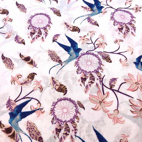 Lapače snov s vtáčikom bavlnená látka
