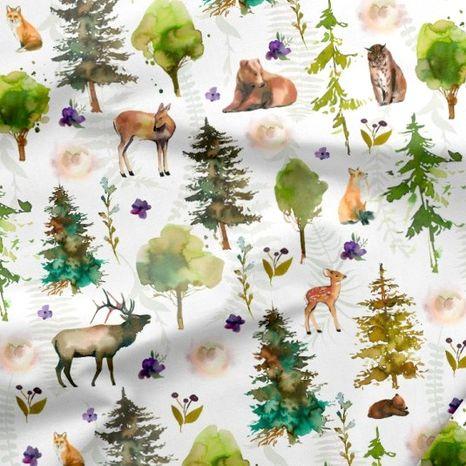 Les so zvieratkami dizajnová prémiová bavlna