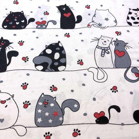 Mačky so srdiečkami bavlnená látka