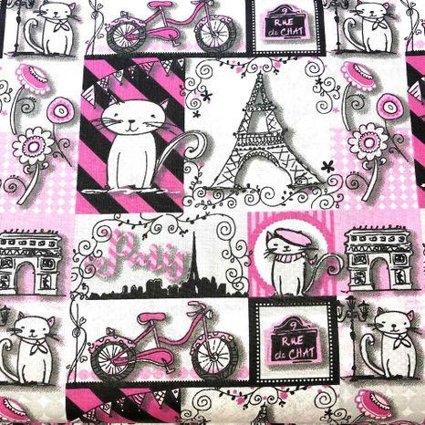 Mačky v Paríži ružové bavlnená látka