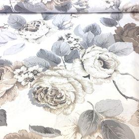 Veľké ruže v hnedo šedej bavlnená látka