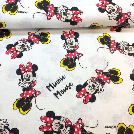 Mickey Minnie na bielej Disney detská bavlnená látka