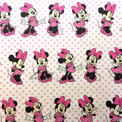 Mickey Minnie s ružovými bodkami Disney detská bavlnená látka