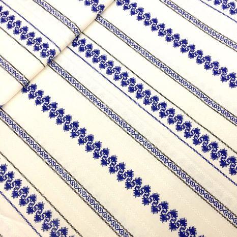 Modrá krížiková výšivka vlnovka ľudová látka