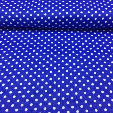 Modrá s bodkami 2mm bavlnená látka