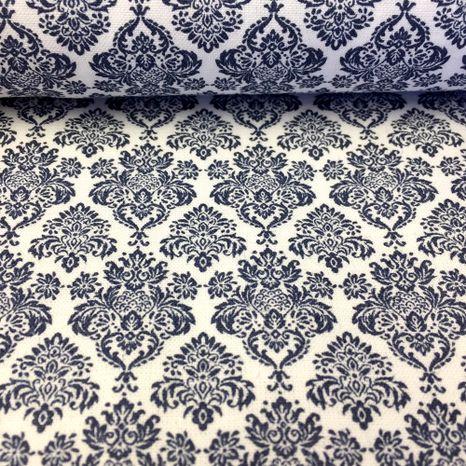Biela s tmavo modrým kráľovským ornamentom česká bavlna